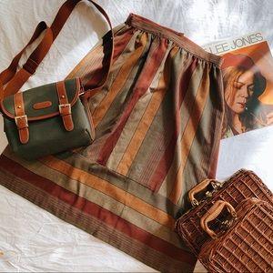 VINTAGE | 70's Neutral Striped Midi Skirt